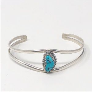 Sterling Silver Turquoise Cabochon Cuff Bracelet